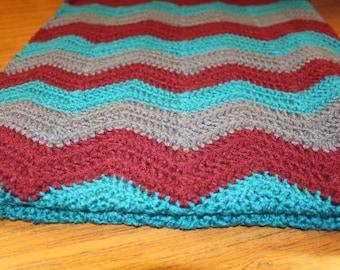 Handmade Crochet Ripple Chevron Baby Blanket