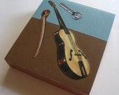 SALE-Survival Kit with Guitar & Sword-Original Collage on Wood