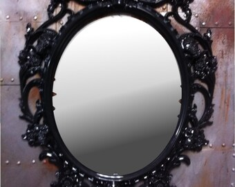 Gloss black  Skulls Oval  Picture Frame With  Mirror  Shabby Chic Baroque Gothic Victorian Tattoo