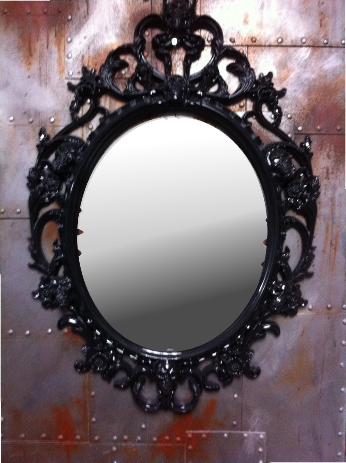 Noir brillant cr nes ovale photo frame avec miroir shabby chic for Miroir noir review