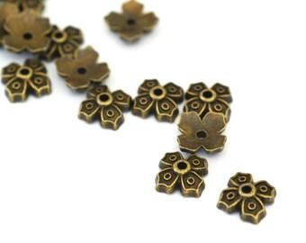 Wholesale Lead Free 100pcs 9mm Antique Bronze Four Leaves Bead Caps A101870-AB-LF