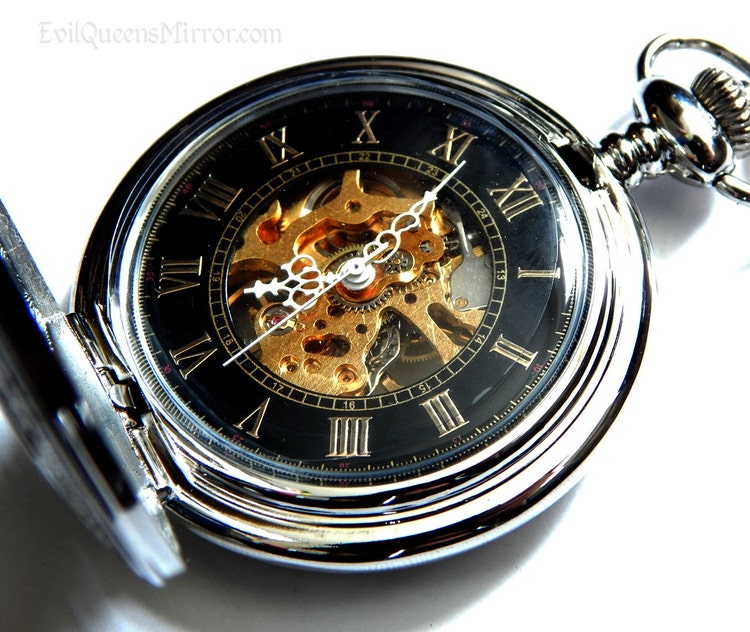 Mechanical pocket watch with exposed gears by wickedqueensmirror for Watches gear