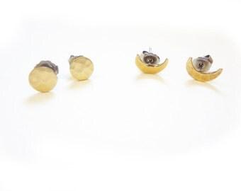 moon earring studs, full or crescent moon set, you choose!