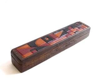 Modernist Carved Wood Box Stash Hinged Handmade