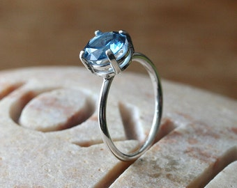 Sparkly Blue Zircon Ring 8 mm Prong Set | Sterling Silver Ring | Size 6.25 or 6.5 | December Birthstone | Gift for Her | Womens Jewelry