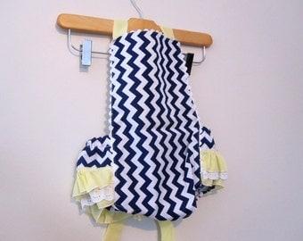 Retro Ruffler - Navy Chevrons - Jumper - Sunsuite - Romper - Girl - Baby - Todler costume