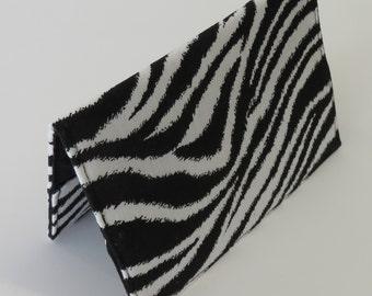 Passport Cover Case Travel Holder Cruise Holiday Honeymoon - Black White Zebra Print Fabric