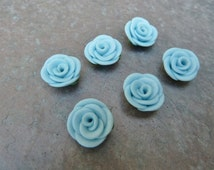 Polymer Clay Rose Beads, Pastel Blue Roses, Canework Roses, Artisan Made Beads, Hand Made Beads, Adorned Clay Jewels, DESTASH, 6 Bead Set