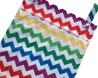 Rainbow Chevron 13x20 kitchen wetbag - kitchen wet bag for reuseable towels, wash cloths, cloth napkins, etc.