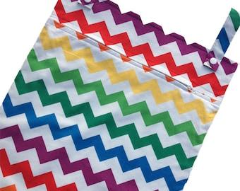 Rainbow Chevron 13x20 kitchen wetbag - kitchen wet bag for reuseable towels, wash cloths, cloth napkins, etc.