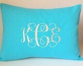 Monogram Pillow Cover. 12x16 Lumbar Travel Pillow.  Accent Throw Cushion. Bridal. Dorm Decor. Graduation. Baby Gift. Nursery Rocker pillow