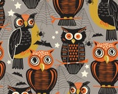 ON SALE Halloween Fabric Owls - Who's There Grey Fabric by Maude Asbury, The Spooktacular Eve Collection - Blend Fabrics - One Yard