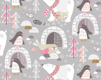 ON SALE Polar Bear Winter Wonderland Grey by Maude Asbury - The Snow Day Collection - Blend Fabrics - One Yard Quilting Fabric