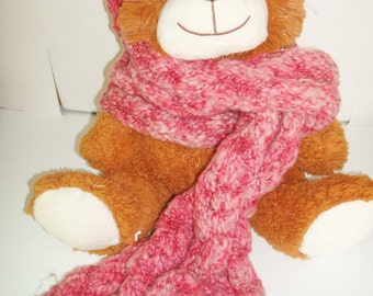 Handknit Pink Scarf with Circlet Head Wrap