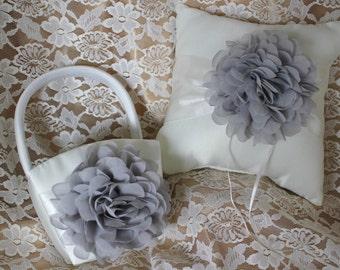 Cream or White Ring Bearer Pillow and Basket Chiffon Chrysanthemum in PURPLE