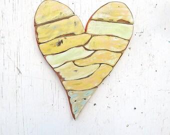Wood Heart, Nursery Decor, Large Orange Heart, Reclaimed Wood Art, Recycled Wood Wall Art, Boho Decor, Wooden Heart Mosaic,