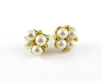 Vintage Faux Pearl Stud Earrings (2 pairs) (J505)