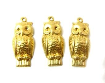 Raw Brass Owl Charms (12X) (M801)