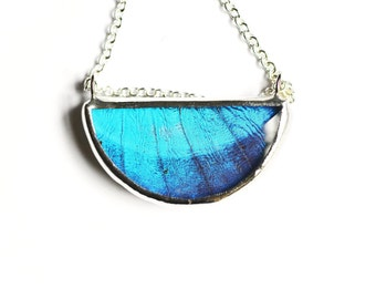 Half Moon Jewel Real Butterfly Wing Necklace Blue Morpho Wing