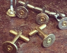 Bullet Cuff Links, Bullet Jewelry, Ammo, Cufflinks, Cuff Links, Steampunk, GIfts For Him, Military, Upcyled, Repurposed, Fathers Day Gift
