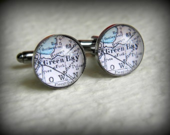 Green Bay Map Cufflinks Cuff links - YOU choose from 16 map choices - Great Groomsmen Gift