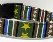 Stars and Stripes Military Green Printed Handmade Dog Collar