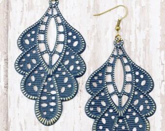 Navy Blue Hand Painted Brass Earrings Boho Jewelry Large Earrings Lightweight Earrings Navy Earrings Statement Earrings