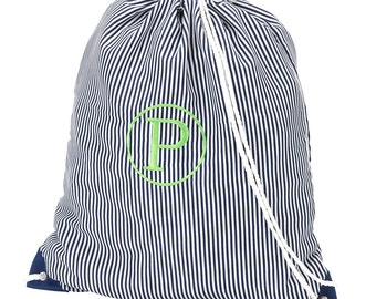 Navy Pinstripe Gym Sling Bag