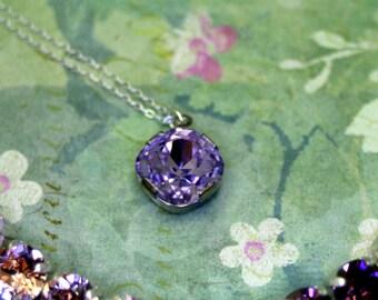 Spellbound Swarovski Elements Necklace 12mm Violet Cushion Cut in Sterling Silver
