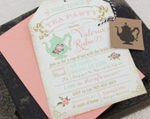 Floral Tea Party Bridal Shower Invitation - Design Fee