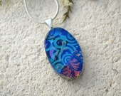 Petite Blue Pink Necklace, Oval Necklace, Dichroic Glass Pendant, Dichroic Fused Glass Jewelry ,Glass Necklace,Silver Necklace, 070415p110
