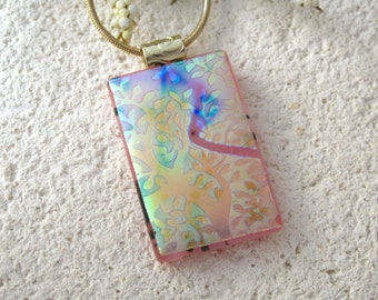 Pink Rainbow Necklace, Tree Branches Satin Floral , Silver Necklace, Fused Glass Jewelry, Dichroic Jewelry, Tree of Life, Pink  070315p104