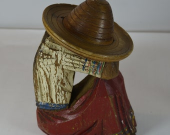 vintage carved wooden sombrero mexico figure bookend