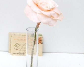 2nd Second Wedding Anniversary Long Stem Peach Rose Cotton Gift Flower