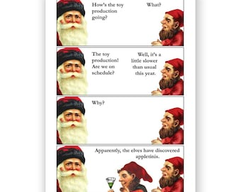 Where Are My Toys - Santa & Elves Christmas Card - Humor - Drinking - Alcohol