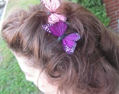 Butterfly Hair Comb with Feather Butterflies
