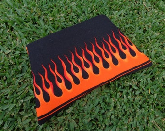 Flames Clutch or Wristlet Purse Red & Orange Flames