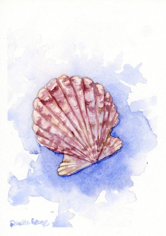 Purple Scallop Sea Shell Art Print Wall Decor 5x7