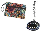 Essential Oils Deluxe Take Along Wristlet Bag by Borsa Bella - Waterproof lining fabric - Front Zippered Pocket - Desert Flowers Fabric