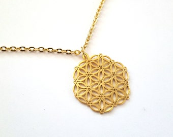 Flower of Life Necklace, Silver or gold, Mandala, Jewelry, Meditation, gift, yoga, fashion, accessory, sacred geometry
