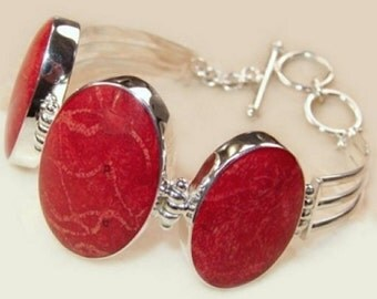 Sale: Sponge Coral and Sterling Silver Bracelet