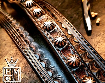 Leather Wrist Cuff Black distressed Traditional American Cowboy techniques ROCKSTAR Bracelet made for YOU in NYC by Freddie Matara