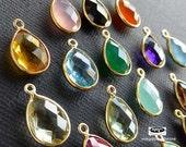 16mm (12 x 9 stone) Tear Drop Gold Bezel Gemstone Charm Wrap Pendant F382- 4 pcs (Choose your color)