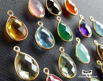 4 pcs 12mm x 9mm Tear Drop Gold Bezel Gemstone Charm Wrap Pendant F382- (Choose your color)