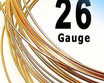 14K Rose Gold Filled Wire 26 Gauge Half Hard (HH) or Dead Soft (DS) - 5 ft or 10 ft