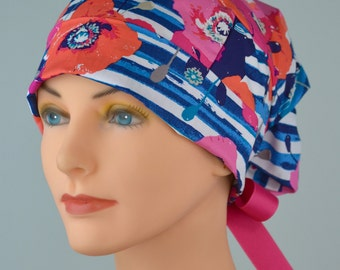 SMALL Surgical Scrub Cap or Cancer Hat -Perfect Fit Tie Back with Ribbon Ties - Poppies