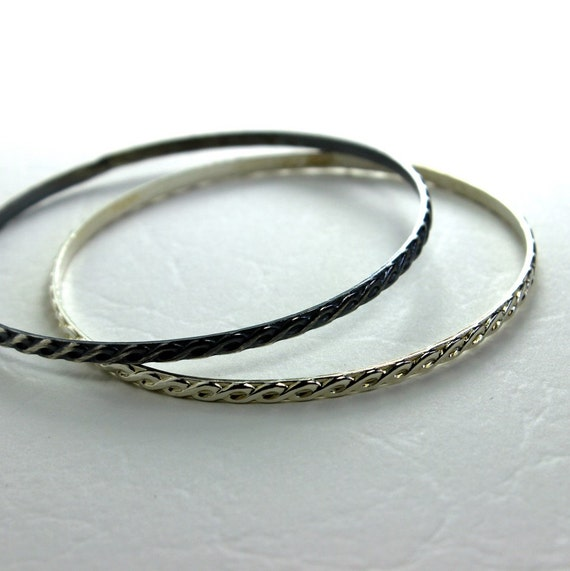 Ornate Braid Sterling Silver Bangle Bracelet- Polished, Oxidized Fall Fashion Stacking Bangle
