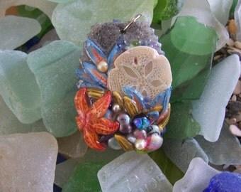 Seashore pendant in polymer clay handmade wearable art