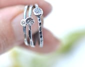 Teensy Daisy, Silver Flower Ring, Individual Stacking Rings