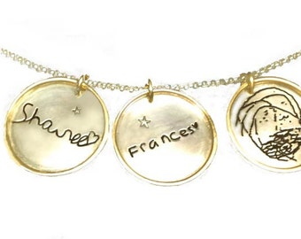 Actual Handwriting Artwork Drawing Gold Rimmed Pendant Necklace by donnaodesigns